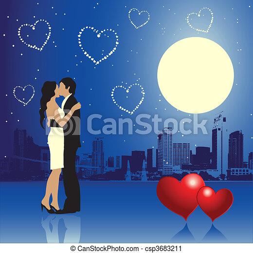 urbain, jour, scène, couple, valentin - csp3683211