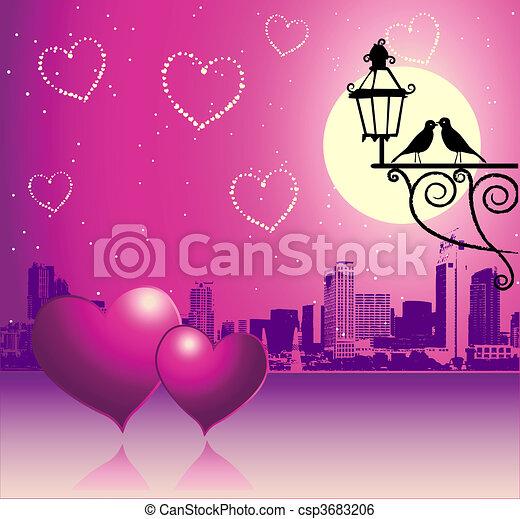 urbain, jour, scène, couple, valentin - csp3683206