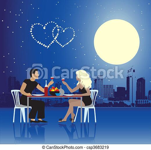 urbain, jour, scène, couple, valentin - csp3683219