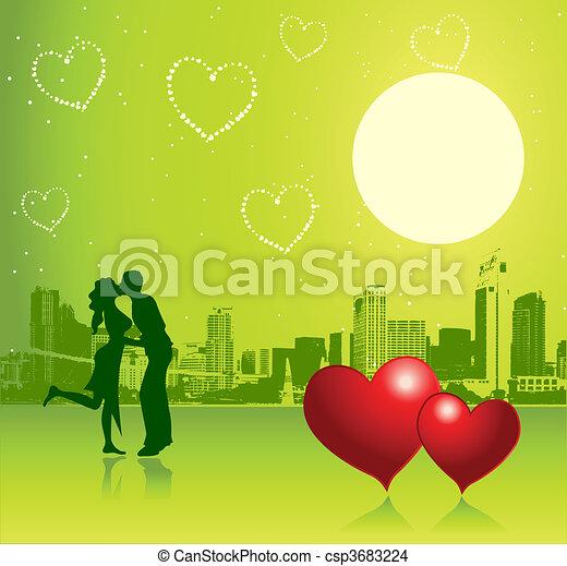 urbain, jour, scène, couple, valentin - csp3683224