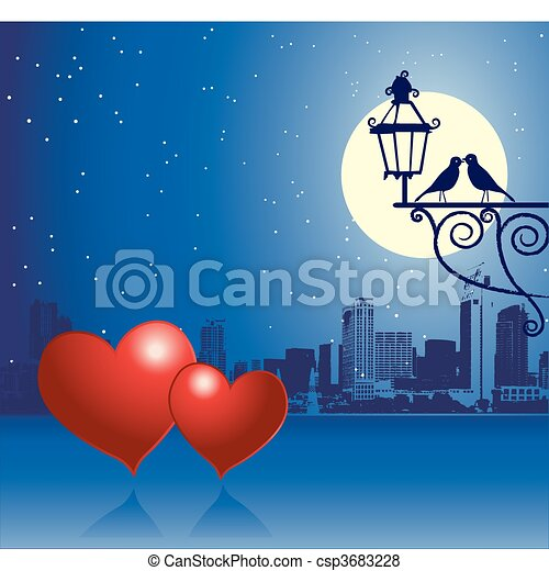 urbain, jour, scène, couple, valentin - csp3683228