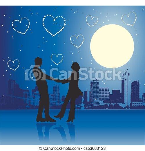 urbain, jour, scène, couple, valentin - csp3683123
