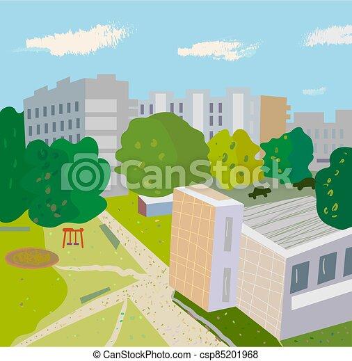 urbain, lilustration, scène, arbres, rue., bâtiments, moderne, vecteur - csp85201968