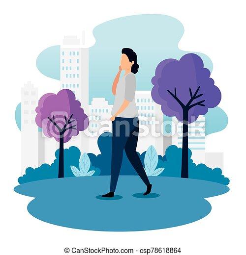 urbain, marche, scène, femme - csp78618864