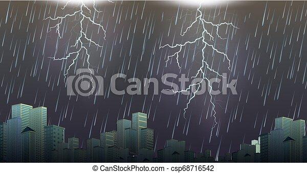 urbain, orage, orage, scène - csp68716542