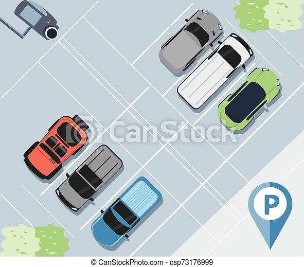 urbain, stationnement, scène, zone, icône - csp73176999