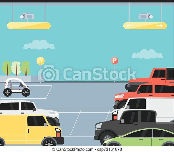 urbain, stationnement, scène, zone, icône - csp73161078
