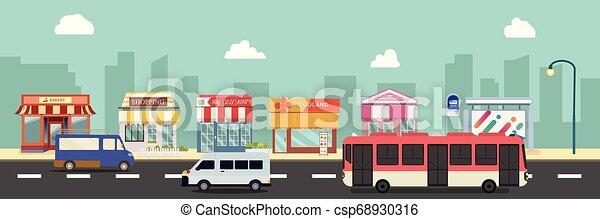 urbain, style, vecteur, .public, autobus ville, illustration, cars., plat, bâtiments, rue, storefront, design.business, minibus, principal, arrêt, public, magasin - csp68930316