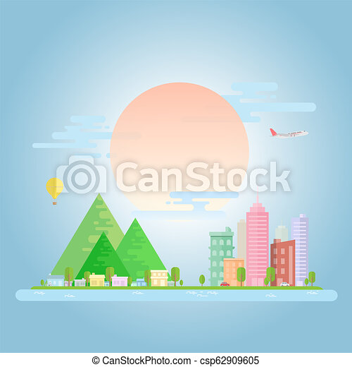 Urban And Village Landscape City With Different Skyline Office