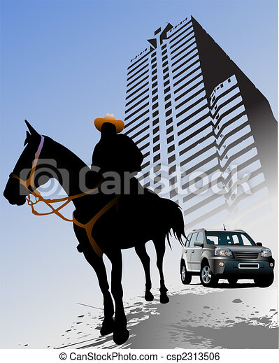 Urban background with horse silhouette. Vector - csp2313506