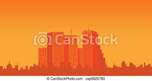 Urban buildings at sunset - csp5825780