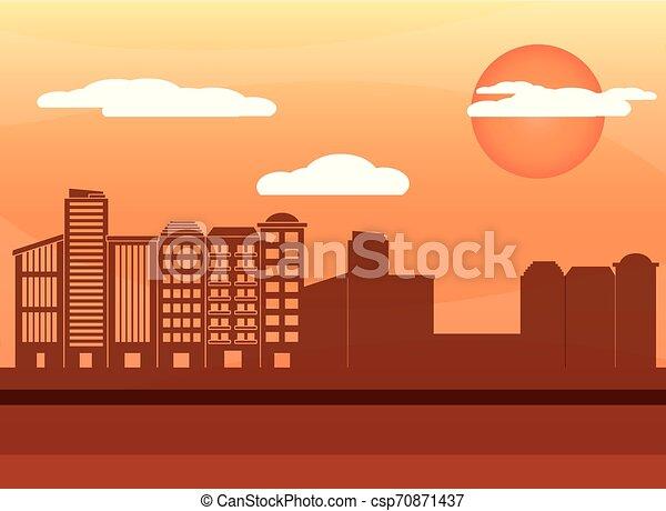 urban buildings cartoon - csp70871437