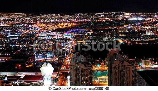 Urban City Night panorama - csp3868148