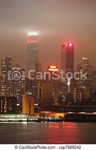 Urban city night scene - csp7668542