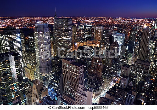 Urban city skyline aerial view - csp5888465