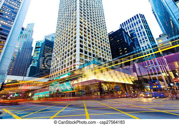 urban city traffic trails at night - csp27564183