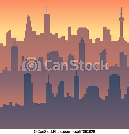 Urban cityscape. Cartoon city skyline vector silhouette - csp57063829