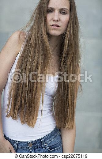 Urban fashion model posing outdoor