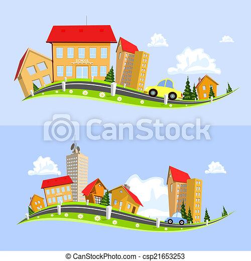Urban landscape vector illustration - csp21653253
