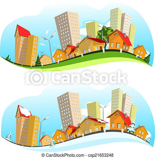 Urban landscape vector illustration - csp21653248