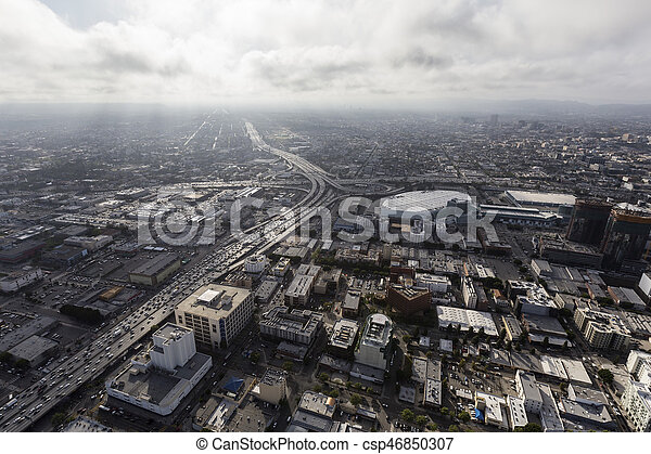 Urban Los Angeles Aerial with Afternoon Clouds - csp46850307