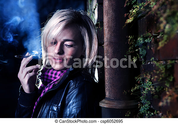 urban portrait of a young woman - csp6052695