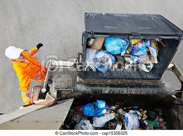 Urban recycling garbage services - csp15356325