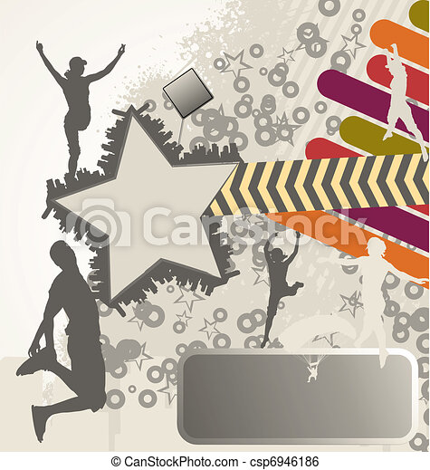 Urban retro vector composition with city skyline and people silhouettes - csp6946186