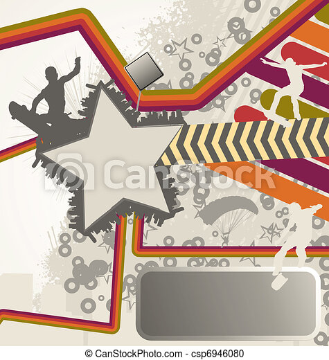 Urban retro vector composition with city skyline and skater silhouettes - csp6946080