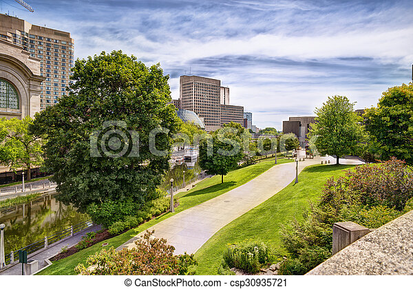 Urban scene of buildings and rideau canal cloudy sky in background urban scene of buildings and rideau canal cloudy sky in background hdr effect thecheapjerseys Image collections