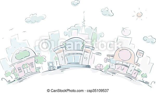 Urban Sketch Restaurants - csp35109537
