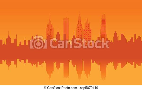 Urban skyline at sunset - csp5879410