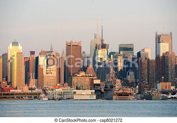 Urban skyline from New York City Manhattan - csp8021272
