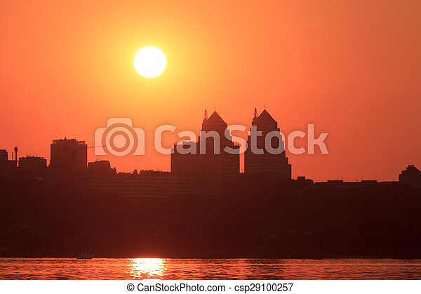 Urban sunset in Dnipropetrovsk - csp29100257