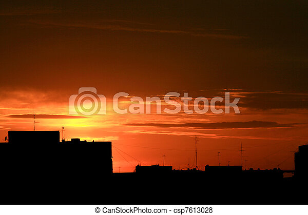 Urban sunset - csp7613028