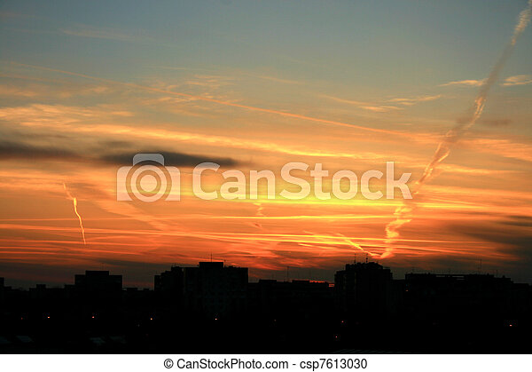 Urban sunset - csp7613030