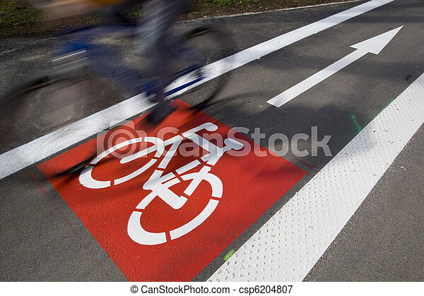 urban traffic concept - bike/cycling lane sign in a city - csp6204807