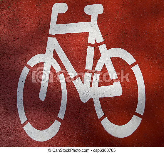 urban traffic concept - bike/cycling lane sign in a city - csp6380765