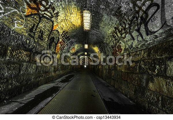 Urban underground tunnel - csp13443934