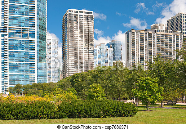 Urban view of the city of Chicago - csp7686371