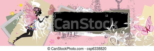 urban vintage grunge banner with a fairy - csp6338820