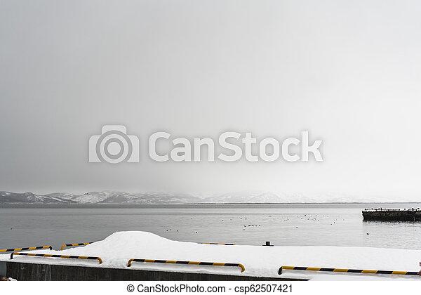 Urban winter landscape at Kamchatka peninsula - csp62507421