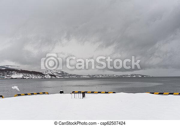 Urban winter landscape at Kamchatka peninsula - csp62507424