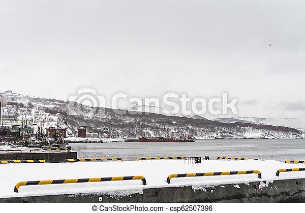 Urban winter landscape at Kamchatka peninsula - csp62507396