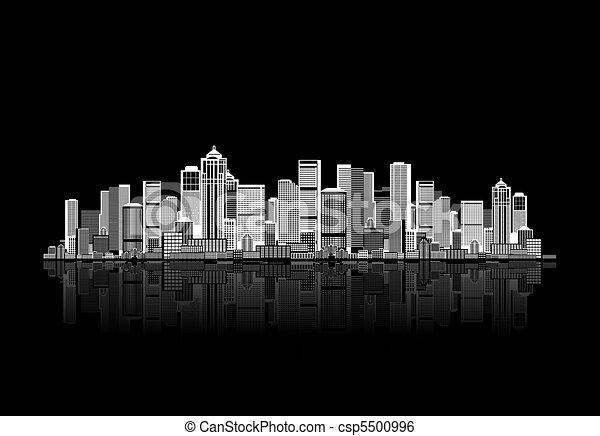 urbano, arte, desenho, fundo, cityscape, seu - csp5500996