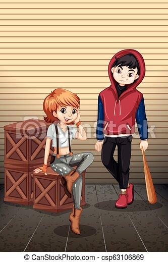Un adolescente urbano con caja - csp63106869