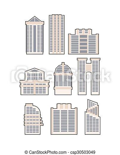 Urbano, conjunto, rascacielos, casa, vector, icon., edificios.