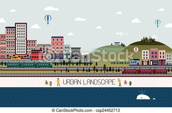 urbano, encantador, desenho, paisagem, apartamento - csp24452713