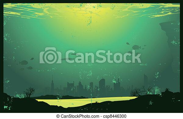 Grunge urbano paisaje urbano submarino - csp8446300