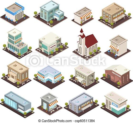 urbano, isométrico, arquitectura, iconos - csp60511384